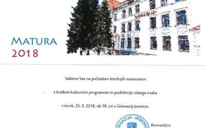 Svečani sprejem maturantov – torek, 25.9. ob 18.00